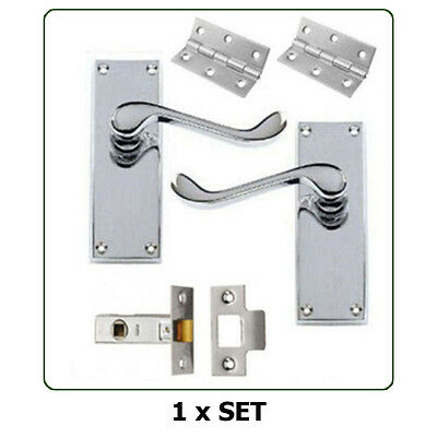 Pairs of Internal Door Handles - Scroll Lever Latch Chrome with fixings