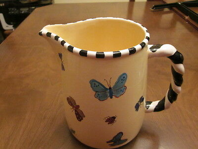"""Patricia Dupont   BUTTERFLY PITCHER  7 """" TALL//9"""" WIDE w/ HANDLES  *NEW*"""