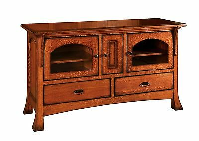 Amish Mission Breckenridge TV Stand Cabinet Solid Wood Glass Doors Drawers