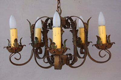 1920s Small Antique Chandelier Light Fits Spanish Revival Mediterranean  (7315)