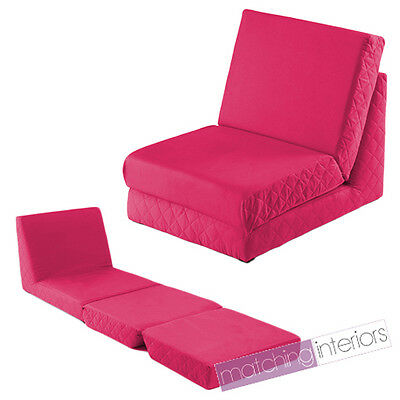 Pink Fold Out Z Bed Single Chair 1 Seat Chair Guest Bed Mattress Futon Student