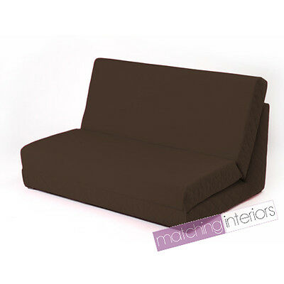 Brown Fold Out Z Bed Double Chair 2 Seat Sofa Guest Bed Mattress Futon Student