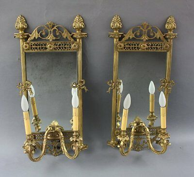 Pair Of Brass Double Sconces With Mirror Back Circa 1920's French Style (7325)