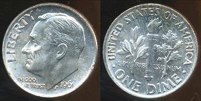 United States, 1961 Dime, Roosevelt (Silver) - Choice Uncirculated