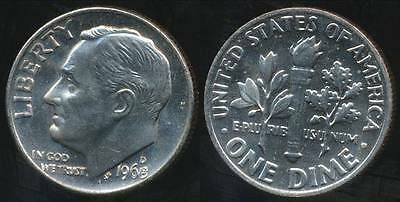 United States, 1968-D Dime, Roosevelt - Choice Uncirculated