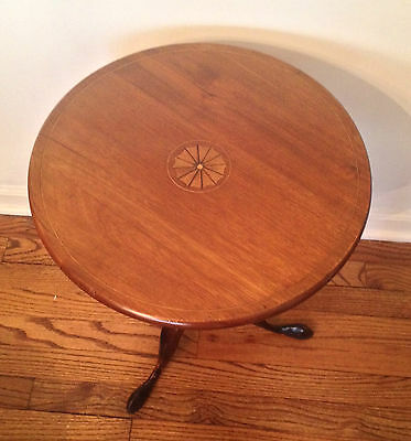 Antique Mahogany Tilt Top Table with Turned Base Inlay Top Brass Lock Latch