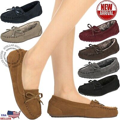 New Moccasins Women Slip On Indoor Outdoor Shoe Slipper Fur Loafer 5-10 Size