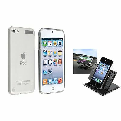Frost Clear White Gel TPU Rubber Skin+Car Windshield Holder For iPod Touch 5