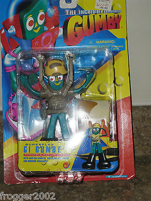 NEW ON CARD ~1996 Trendmasters Superflex GI GUMBY ~Action Figure w/Accessories