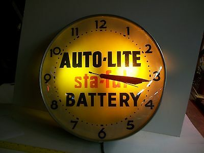 Auto Lite Battery Lackner lighted sign clock 1950's