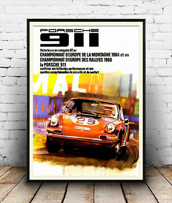 Porsche 911,  vintage motoring advertising poster reproduction.