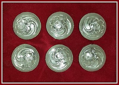"""6 - 3/4"""" Silver Hand Engraved Western Conchos"""