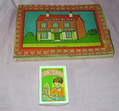 2 Vtg 1950's Japan Wood Block Toy Play Sets Iob, Create Putz Houses & Buildings