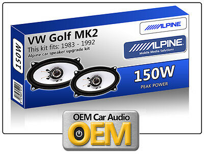 VW Golf MK2 Rear Hatch speakers Alpine 4x6 car speaker kit 150W Max Power
