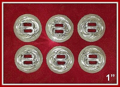 """6 - 1"""" Silver Hand Engraved Western Slotted Conchos"""