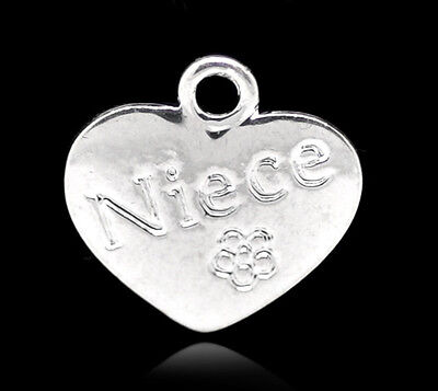 10pcs Antique silver plated niece heart  Charm pendant M0098
