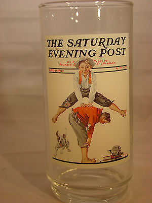 ARBY'S Norman Rockwell Saturday Evening Post Glass Leapfrog 6 Of 6 Vintage