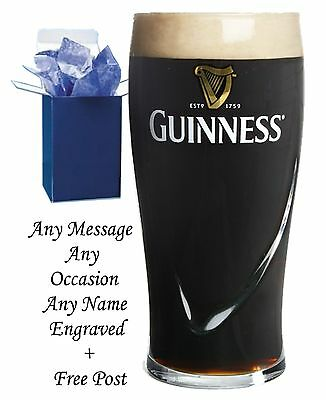 Personalised Engraved Pint Beer Glass Dad, Granddad, Guinness Gift