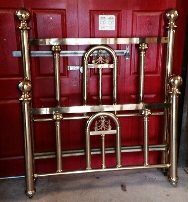 Antique Ornate Cannonball Full Size Brass Bed