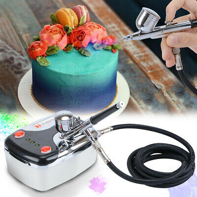 Voilarmart Airbrush Compressor Set Air Brush Dual Action Spray Gun Make Up Paint