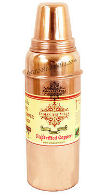 Indian Handmade Copper Thermos water Bottle with Lid for Health Benefits Yoga