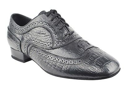Black Croc Embossed Leather Very Fine Ballroom Dance Wedding Men's Shoe CD9002A