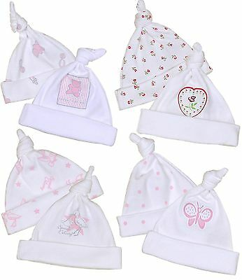 BabyPrem Premature Preemie Tiny Baby Clothes Pack of 2 Girls Cotton Knotted Hats