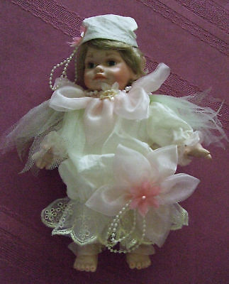 "8"" Porcelain  Flower PIXIE  Elf   DOLL  1990 Limited Edition  NIB  NEW in Box"