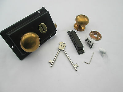 Old Vintage Period Victorian Style Solid Brass Black Rim Lock Door Knob Handles