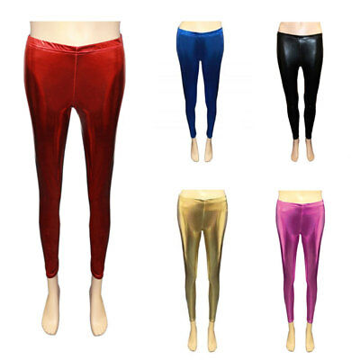 New Girls Wet Look Legging Kids Shiny Foil Metallic Dance Leggings Age 5-13 Year