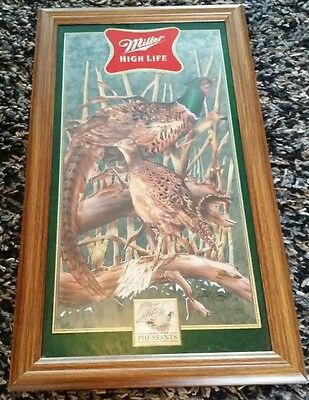 """MILLER High Life """"Pheasants"""" Wildlife Hunting Mirror/Plaque-1/6 in New Series #5"""