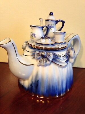 Vintage KPM Teapot With Miniature Tea Set On Lid With Gold Accents