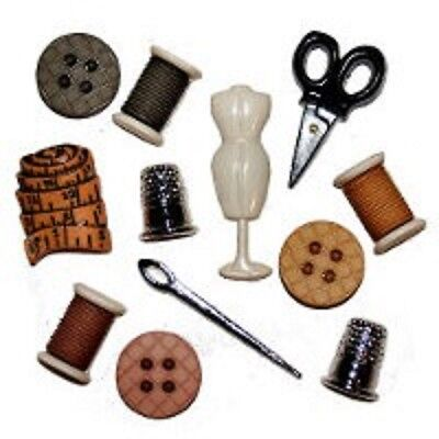 Novelty Buttons Sewing Room Design 10 per Pack - Dress It Up Card Making Crafts