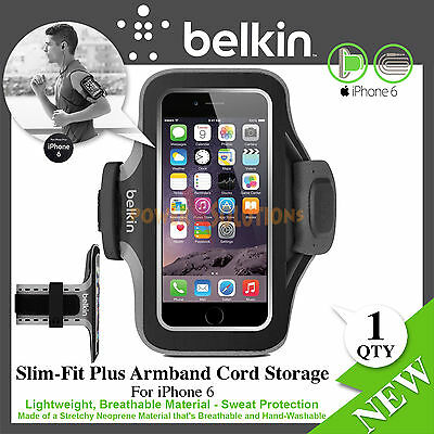iPhone 6 6s Slim-Fit Plus Armband  Cord Storage Sweat Protection Belkin Black