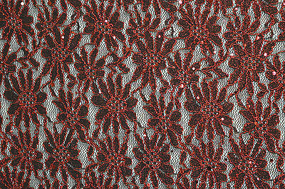 Red Embroidered Sequin Floral Lace Fabric Turkish Indian Look Heavy Weight