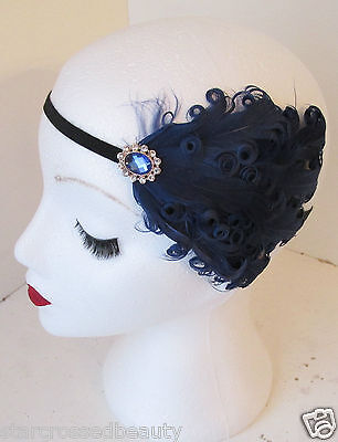 Navy Blue Feather Headpiece Vintage Headband 1920s Deco Flapper Great Gatsby k83