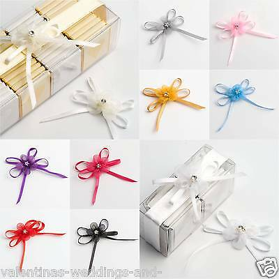 Self Adhesive Diamante Satin Organza Bows Wedding Favour Decoration Cardmaking
