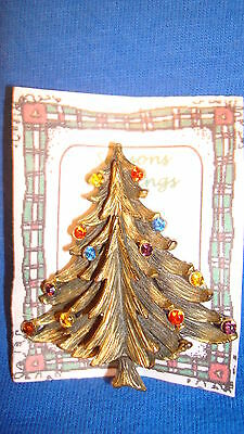 Christmas PIN #0448 Torino Vintage Brass Colored Christmas Tree Pin