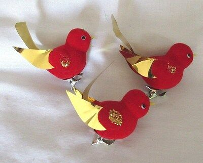3 VINTAGE CHRISTMAS RED VELVETEEN FLOCKED CLIP ON BIRDS W/GOLD ORNAMENTS