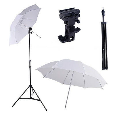 "Photo Studio Flash Shoe Swivel Bracket Mount B Soft 33"" Umbrella Light Stand Kit"
