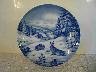 Vintage 1971 Blue and white christmas plate made in Germany VG