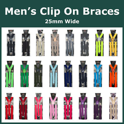 Men's Y-Back Clip On Elasticated Braces Suspenders Adjustable Silver Metal Clips