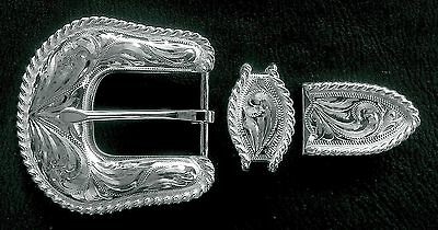 """1"""" Hand Engraved Silver Rope Edge Belt Buckle Set  -- 3 piece --"""