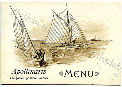 C1895 Adv Lithographed Menu Top Sailing/boating Apollinaris Table Waters Uk W71