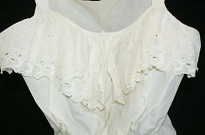 """Vintage Ivory Cotton Lace Camisole Corset Cover Pin Eyelet Lace Bust: 34-36"""""""
