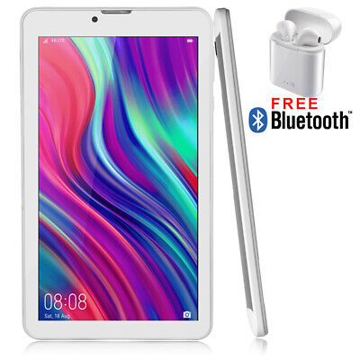 "7"" Android 9.0 Pie White 4G Tablet PC w/  WiFi Dual Camera Google Play Store"