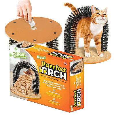 Brand New Cat Massage Grooming Scratching Arch Toy Self Groomer Catnip Included