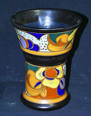 Lovely Tall Gouda Vase Black Interior Colorful Exterior Deco Period Design Mint