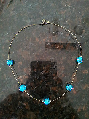 artisan 925 sterling silver invisible choker necklace blue glass beads