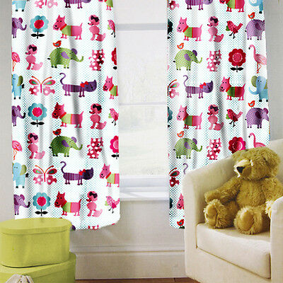 "Cute Pets Children's Kids Curtains 66"" by 72"" + Tiebacks Nursery Bedding Blinds"
